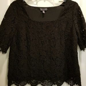 The Limited | Black Lace Short Sleeve Top | SZ PL